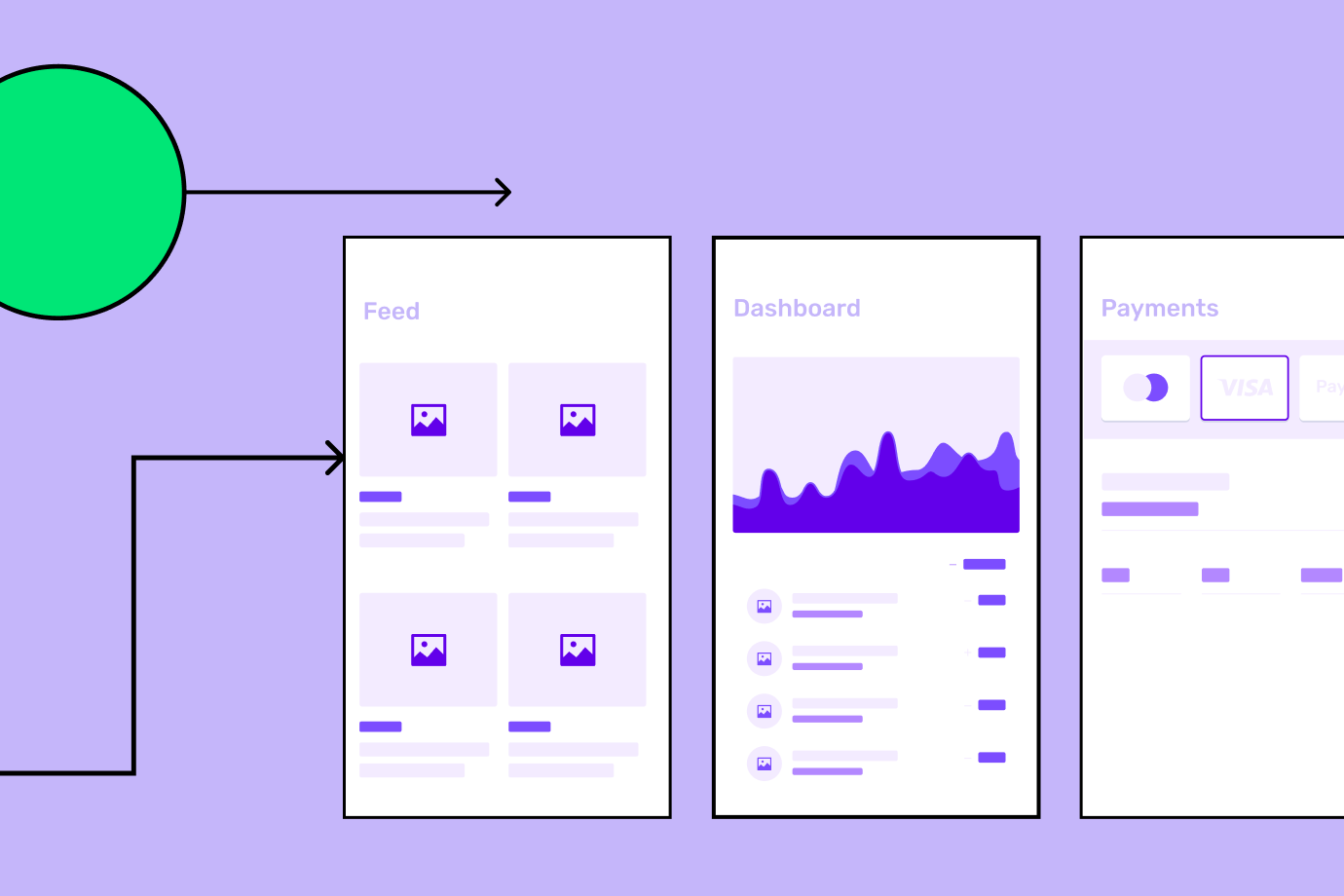 Sketches of app screens on purple background