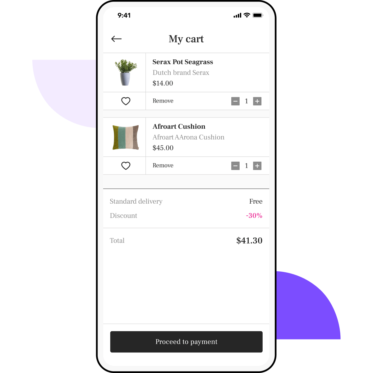 Grocery app with graphic elements