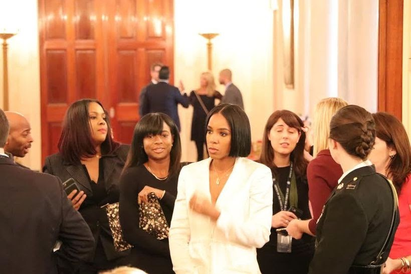 White House-Music artist Kelly Rowland spotted.