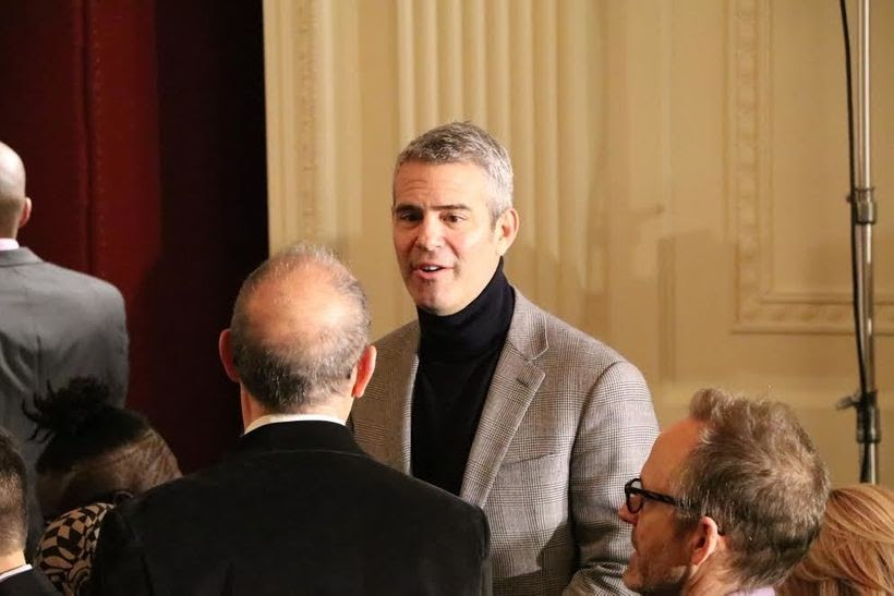 Bravo TV host Andy Cohen was spotted as the audience got seated awaiting the appearance of the First Lady to deliver her fina