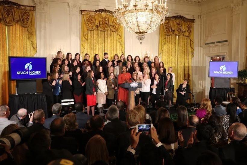 Michelle Obama giving final remarks as First Lady while honoring school counselors from across the United States.