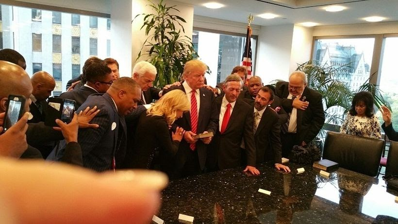 Group of Pentecostals and conservative Christians in a private meeting Paula White set up with Donald Trump. Beyond Paula Whi