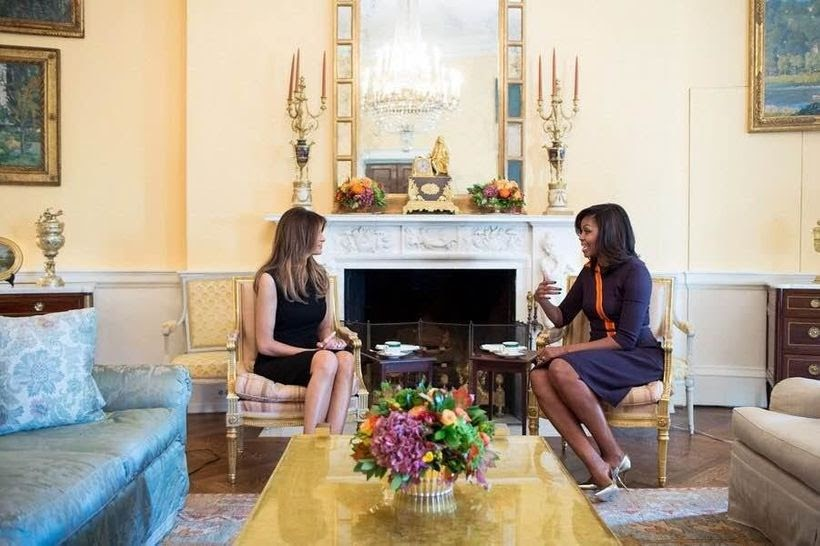 First Lady Michelle Obama meets with Future First Lady Melania Trump in the Yellow Oval Room