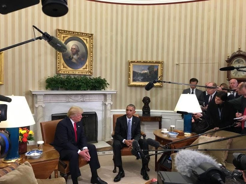 For the First Time, President-Elect Donald Trump Meets Face to Face With President Of The United States Barack Obama in the O