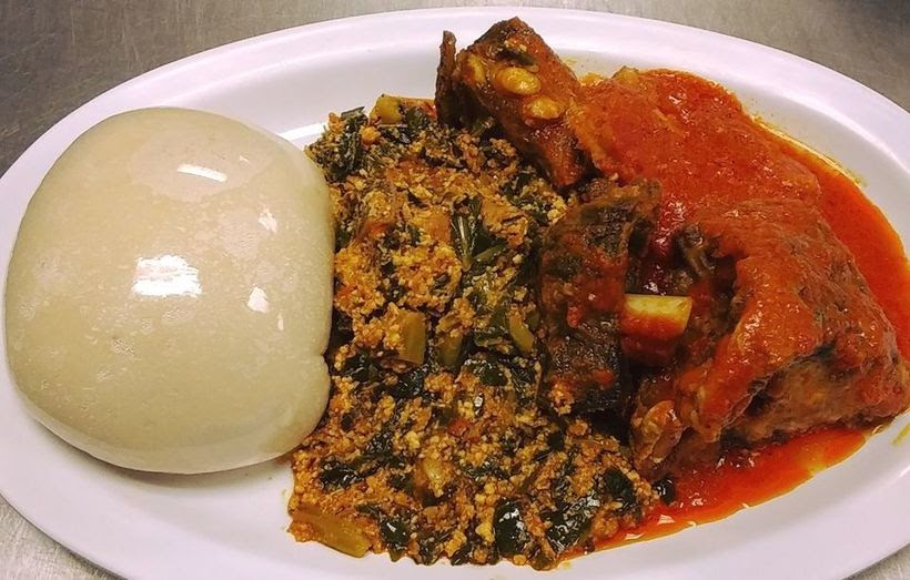 Food at Kingsway Cafe- Egusi, pounded yam and stewed chicken.