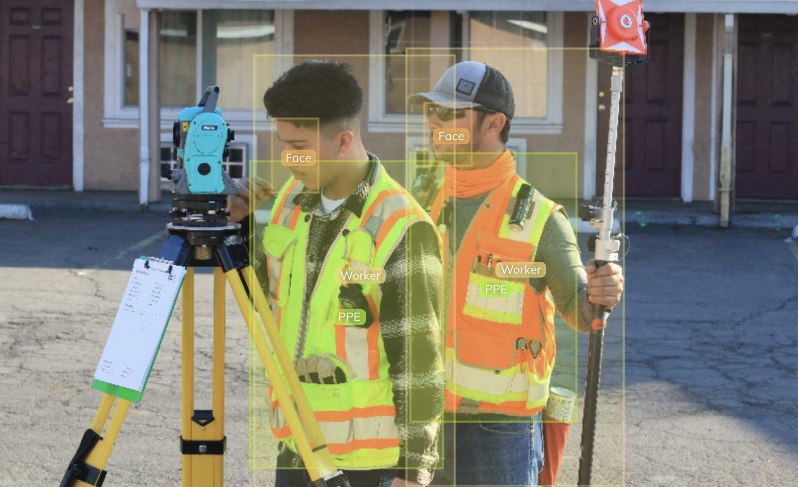 Bounding box annotations of construction workers and PPE using V7