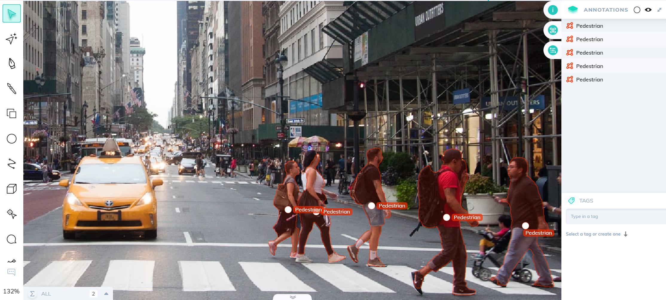 Image annotation of pedestrians for autonomous vehicles