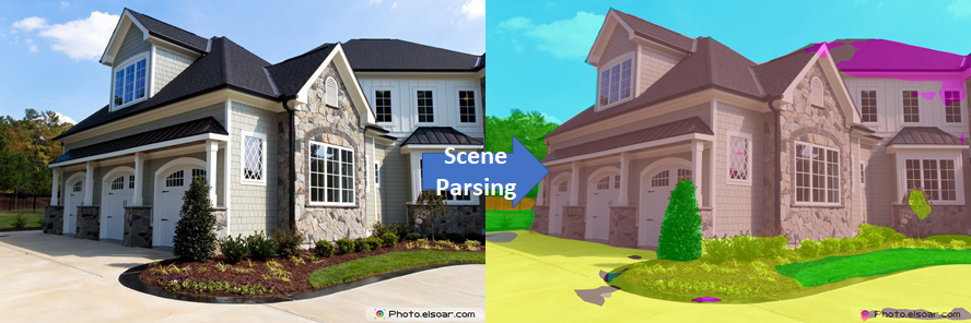 Pyramid Scene Parsing performed on a picture of a house