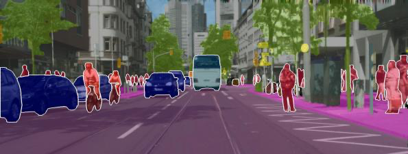 Semantic segmentation performed on an image of a road with cars and pedestrians