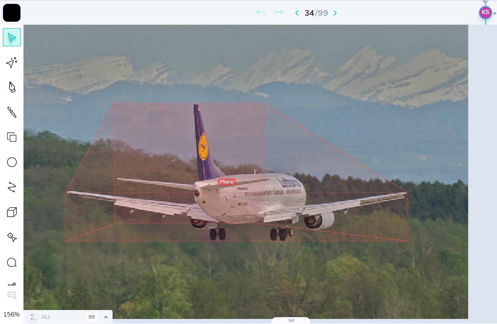 Plane annotation using 3D cuboid in V7