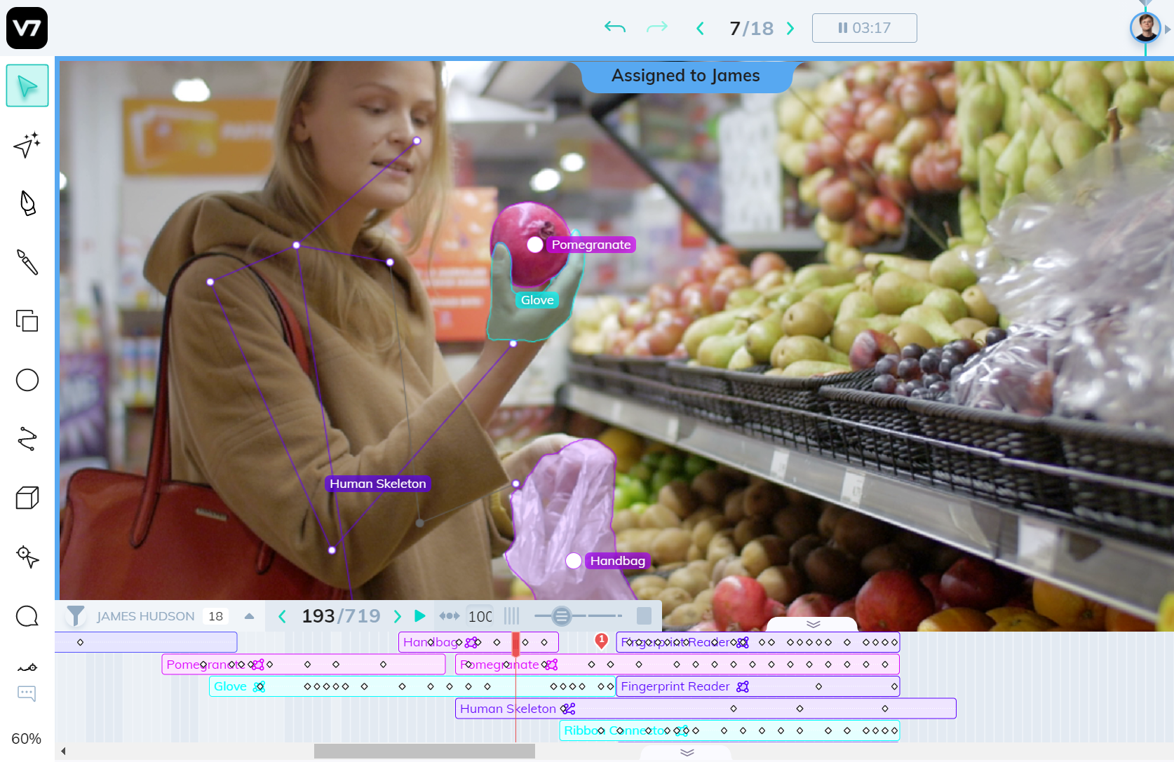 Annotating videos frame-by-frame in V7 and labels stacking