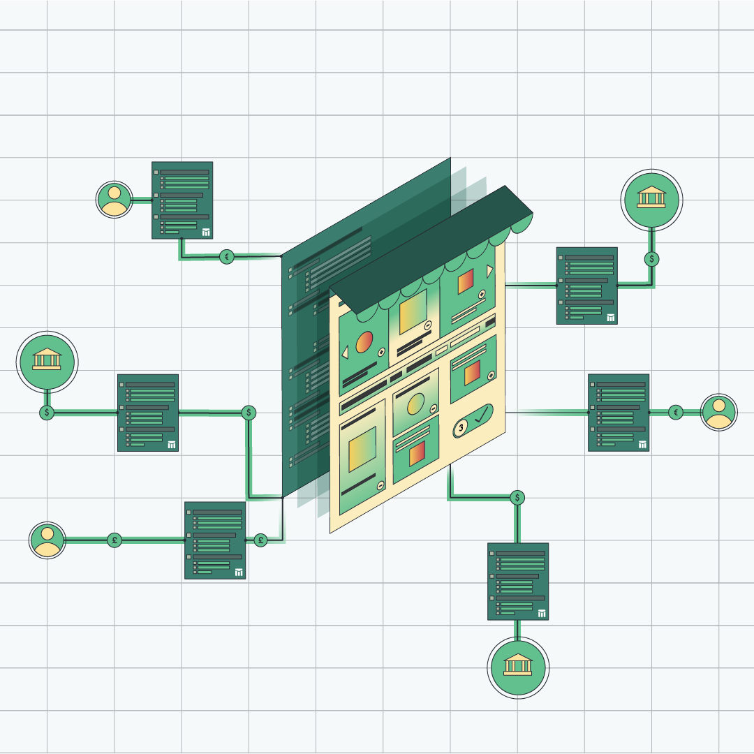Illustration of a marketplace with underlying code integrated with Modern Treasury