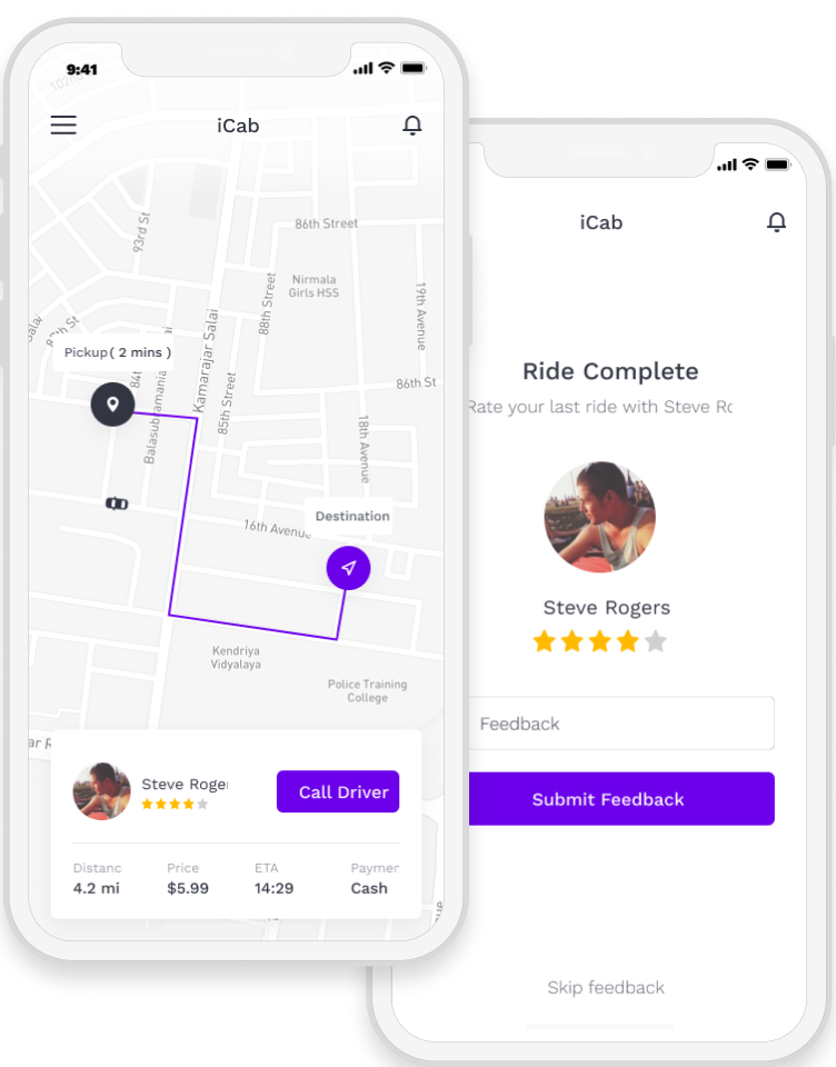 Taxi booking app with map