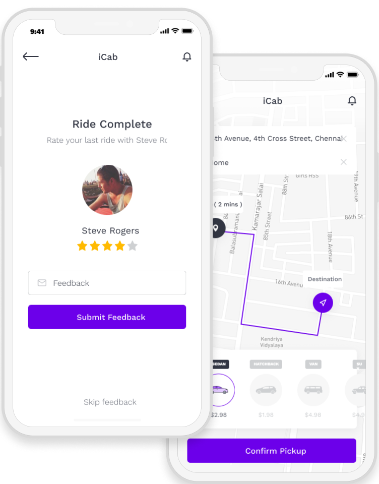 Taxi sharing app with ride completion screen