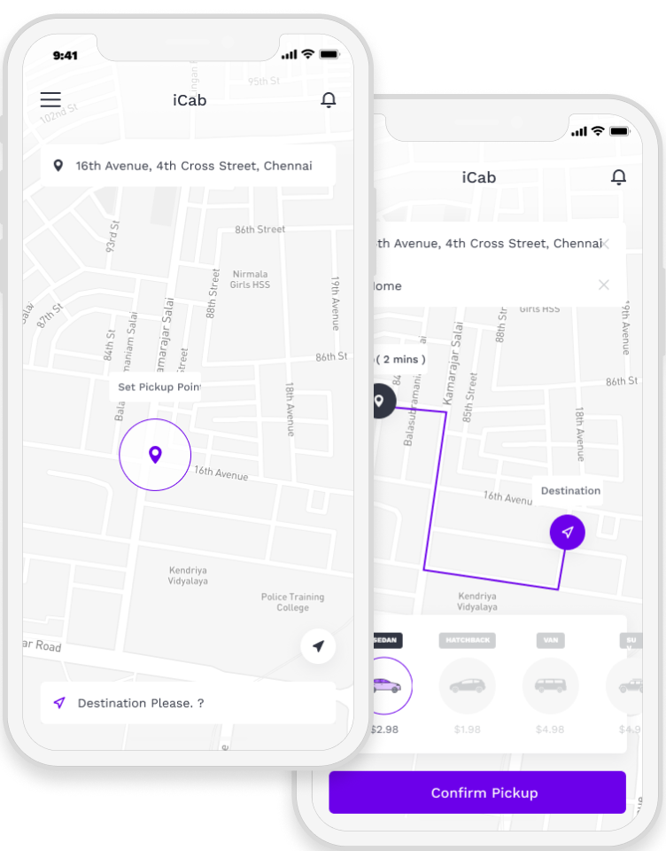 Taxi booking app with location trigger