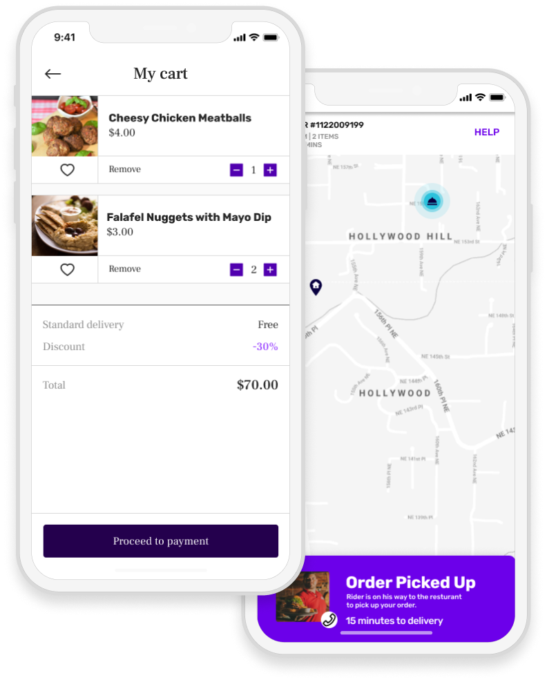 Food delivery app with shopping cart and map