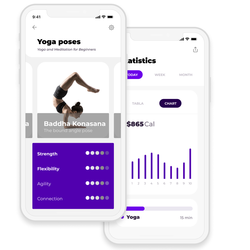 Yoga and wellness app screen