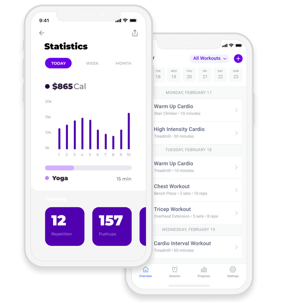 Fitness app with statistics