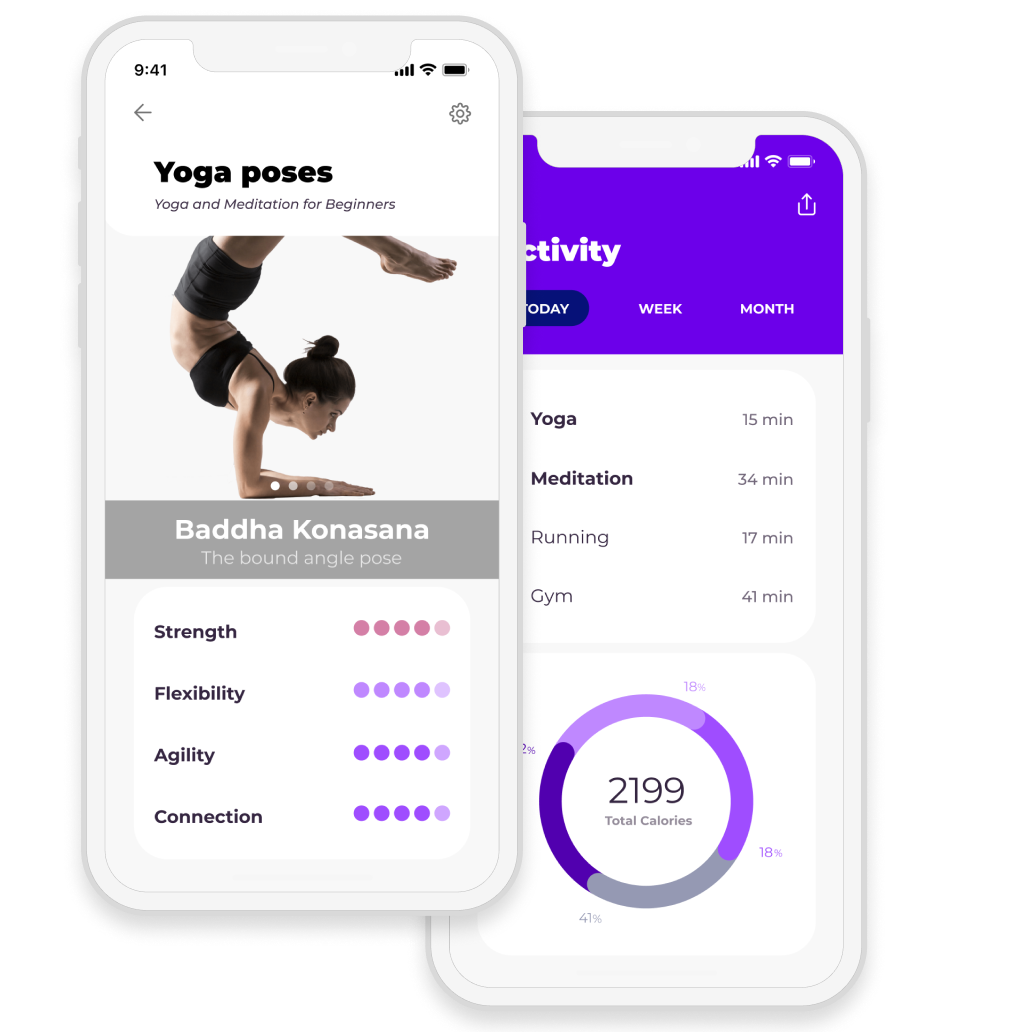 Fitness app with yoga poses