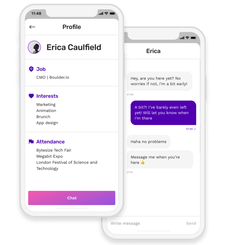 Event app with attendee profile
