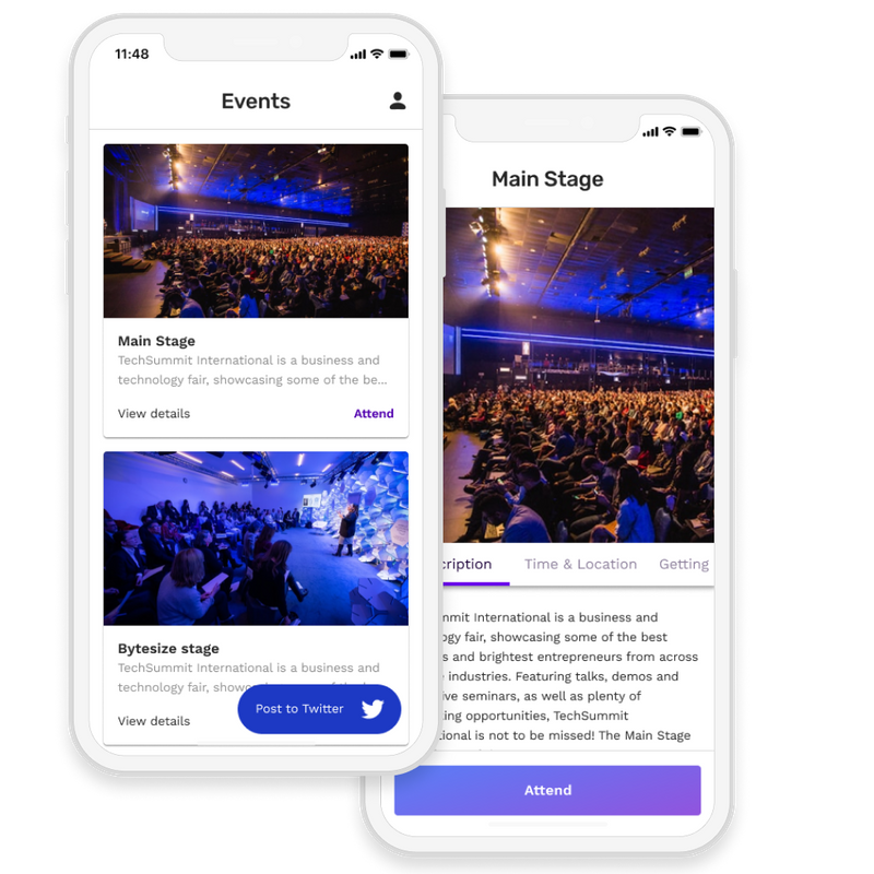 Event app with event listing