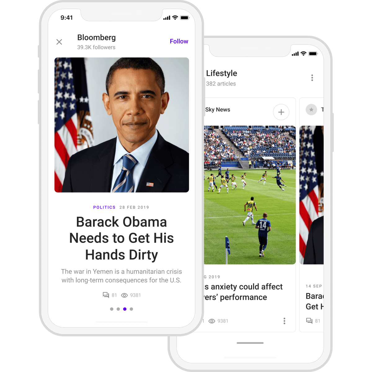 News app screen with featured stories