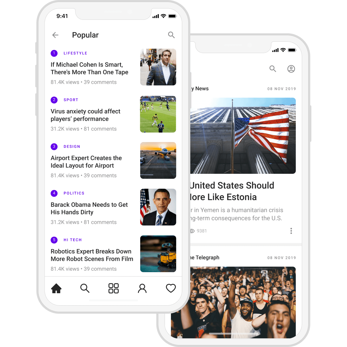 News app screen with popular stories