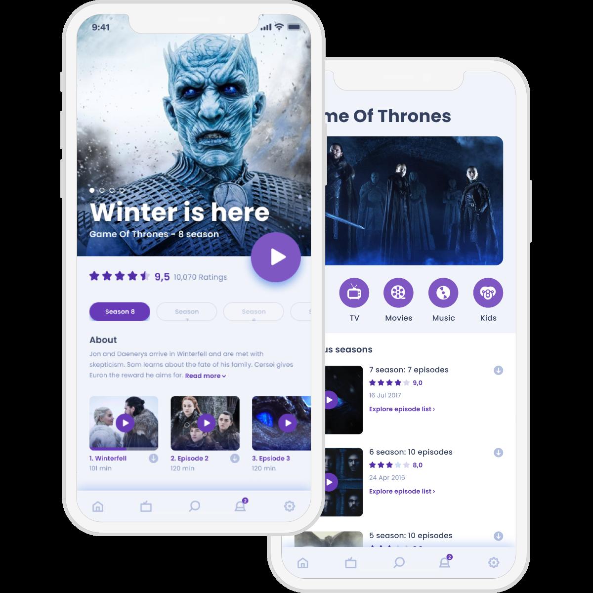 video streaming app screen