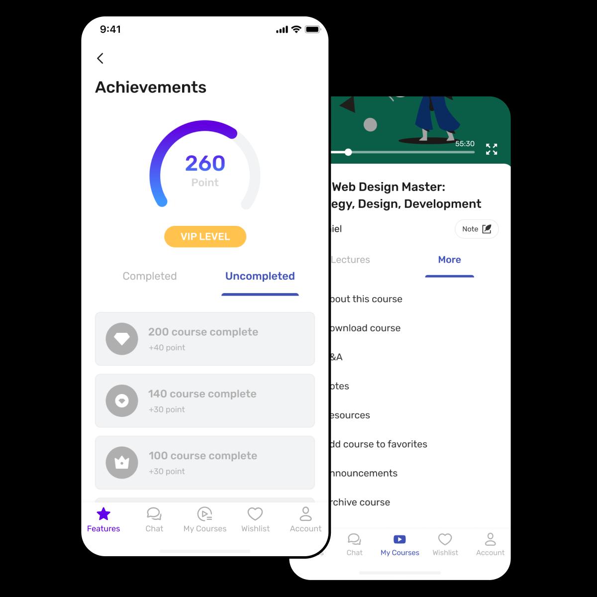 Online learning platform (mobile app) screen