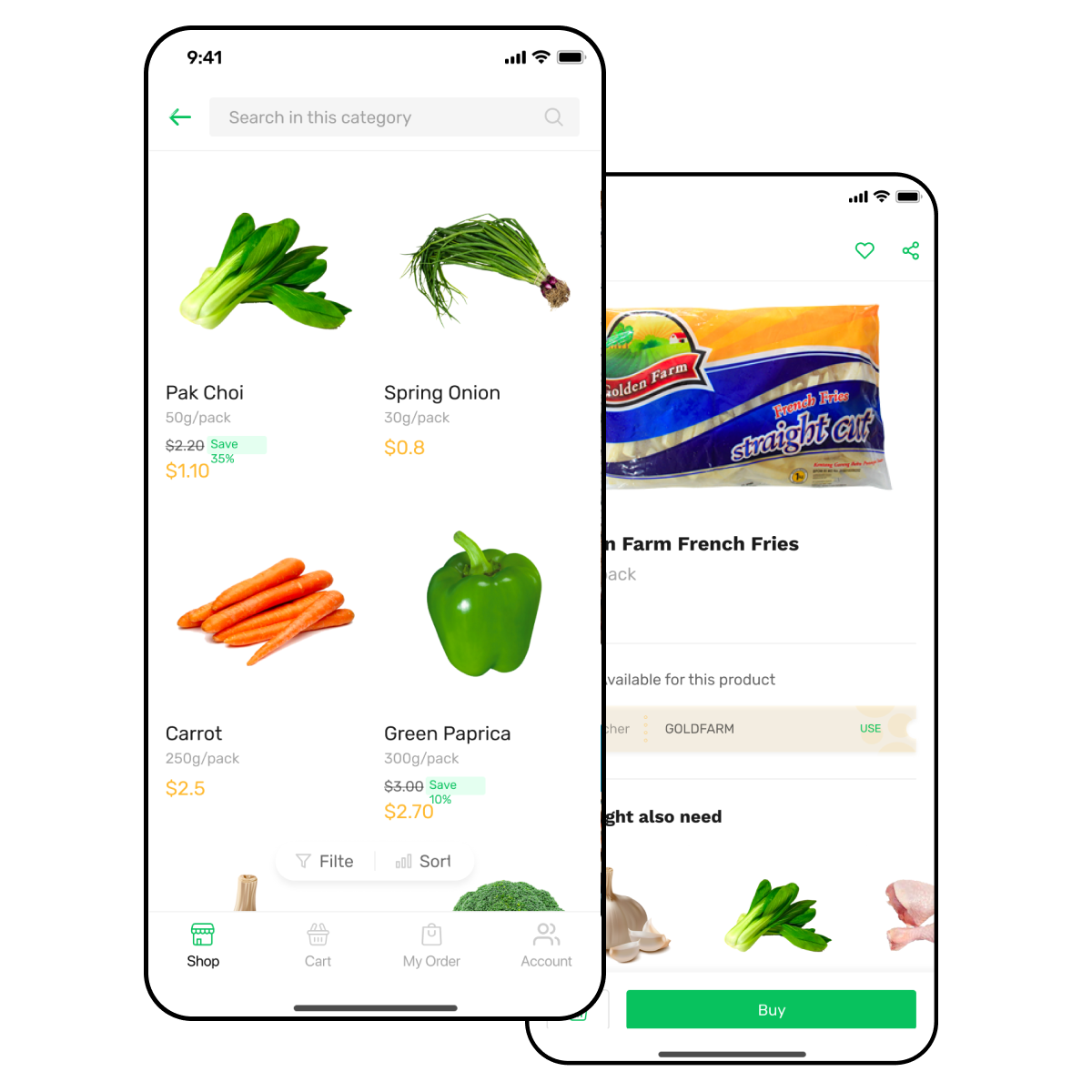 Vegetable delivery app screen