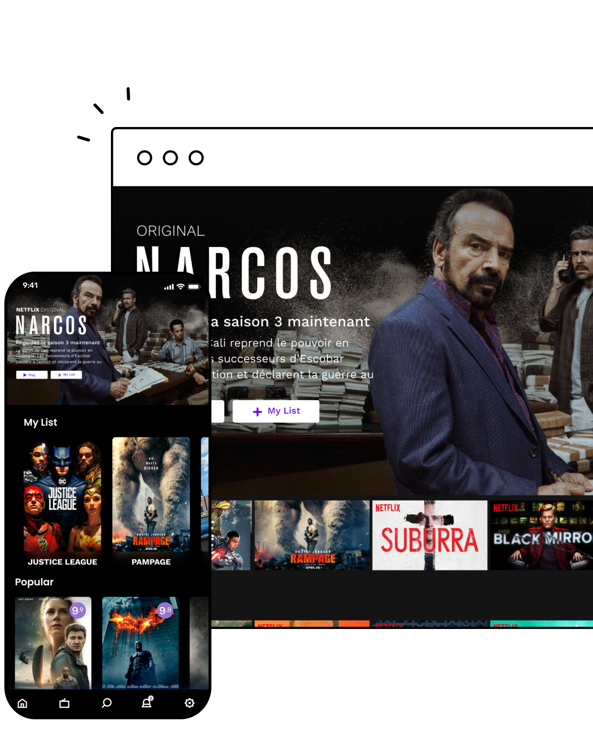 PWA screen for video streaming services