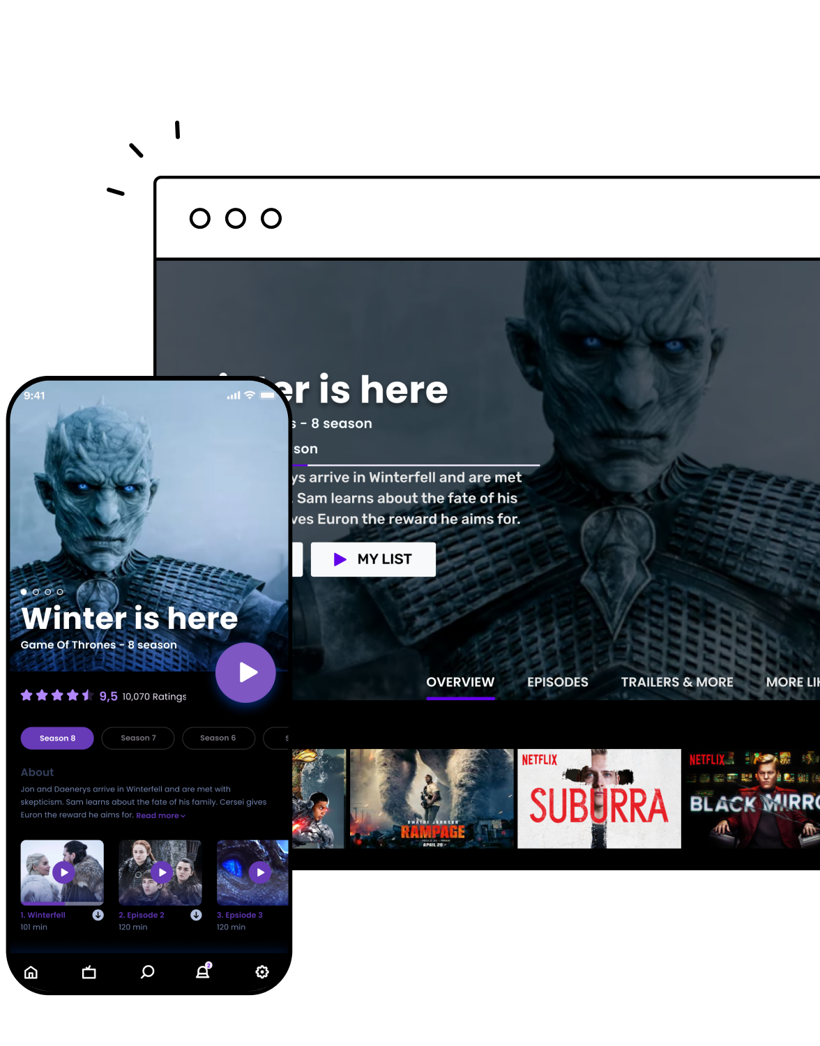 PWA screen for movie streaming services