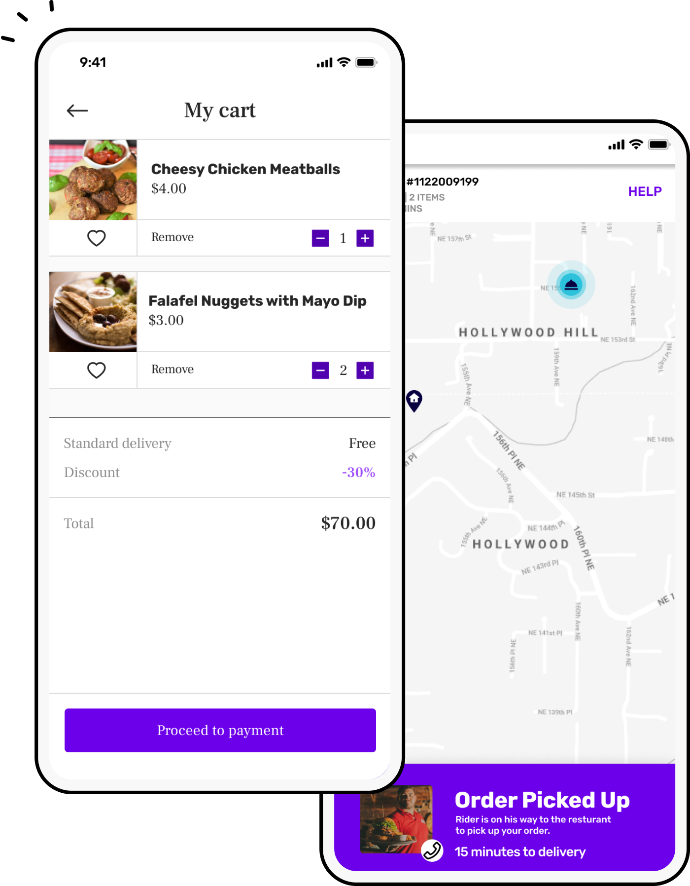 Food delivery app with cart screen