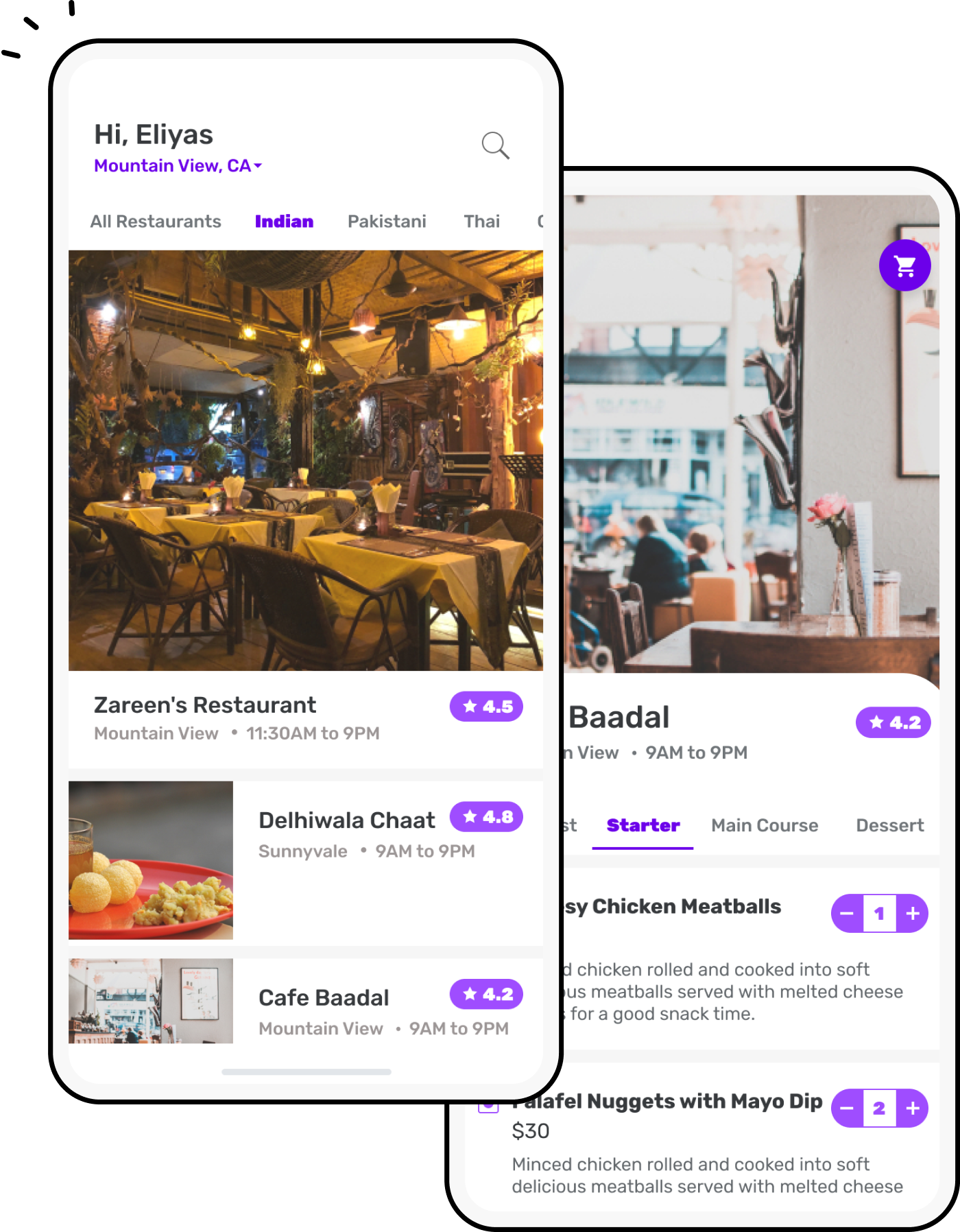 Food delivery app with restaurant screen