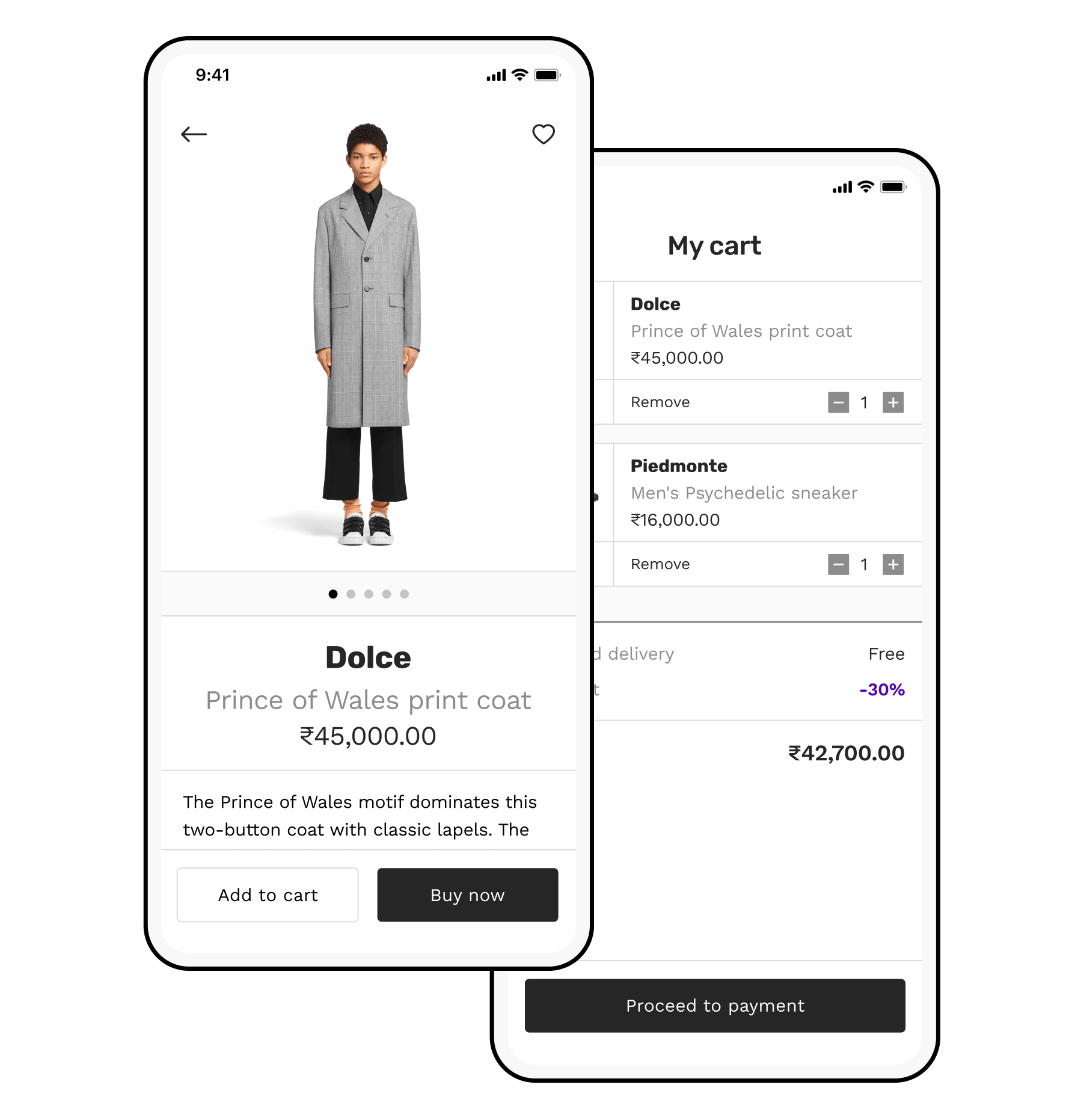 E-commerce app with shopping cart