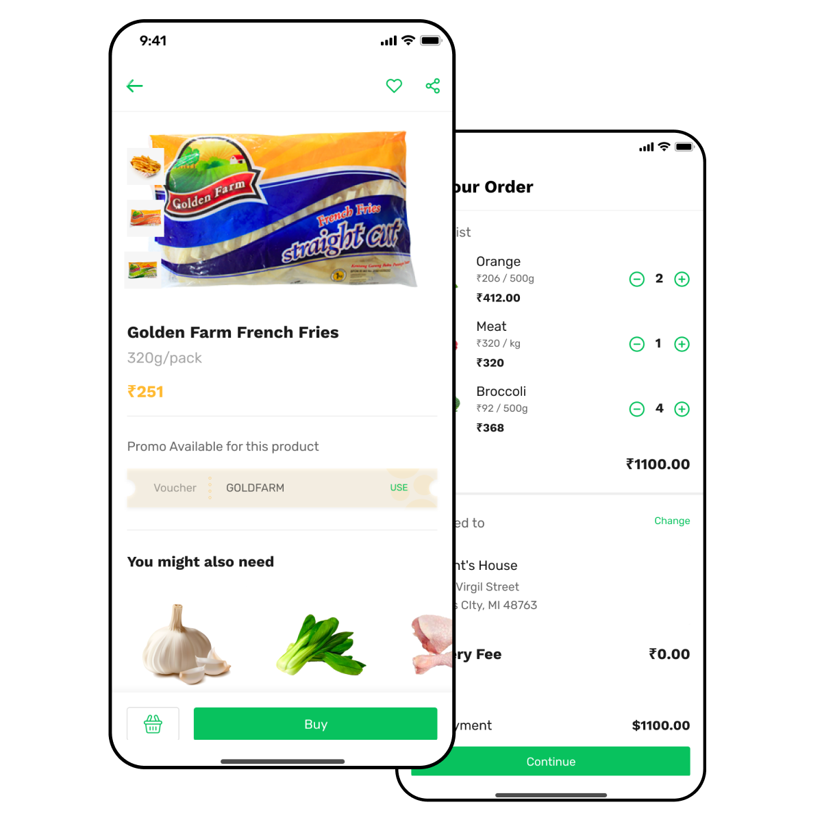 Grocery delivery app with item description