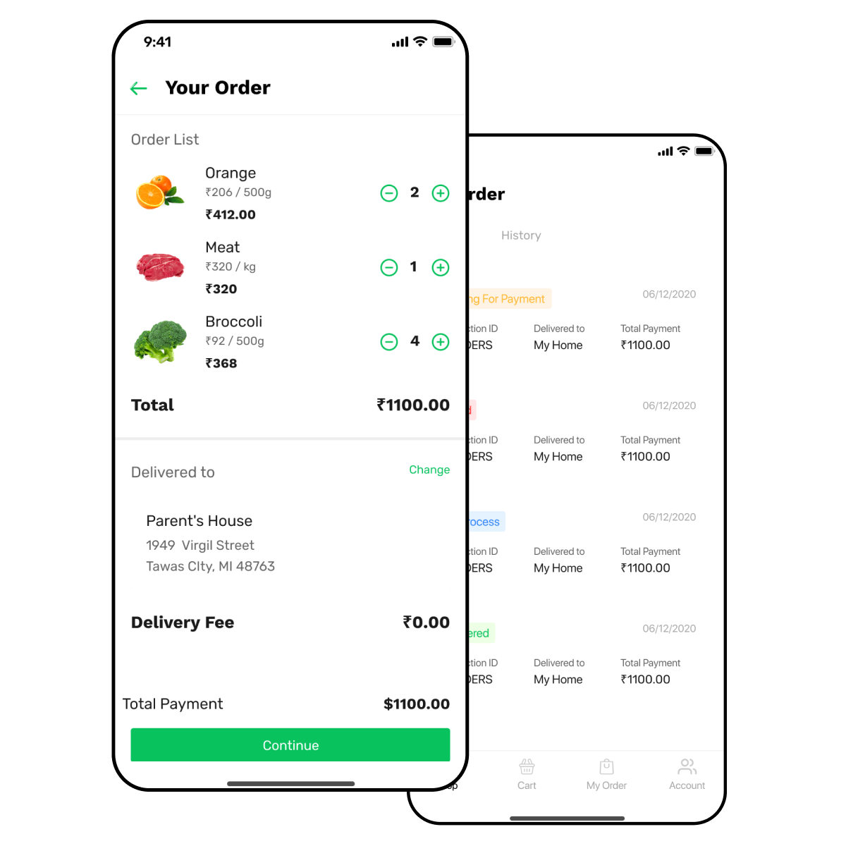 Grocery delivery app with order summary