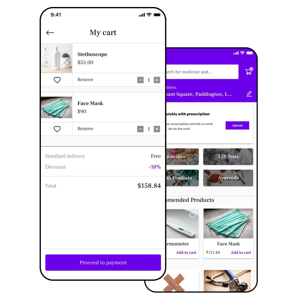Medicine delivery app with shopping cart