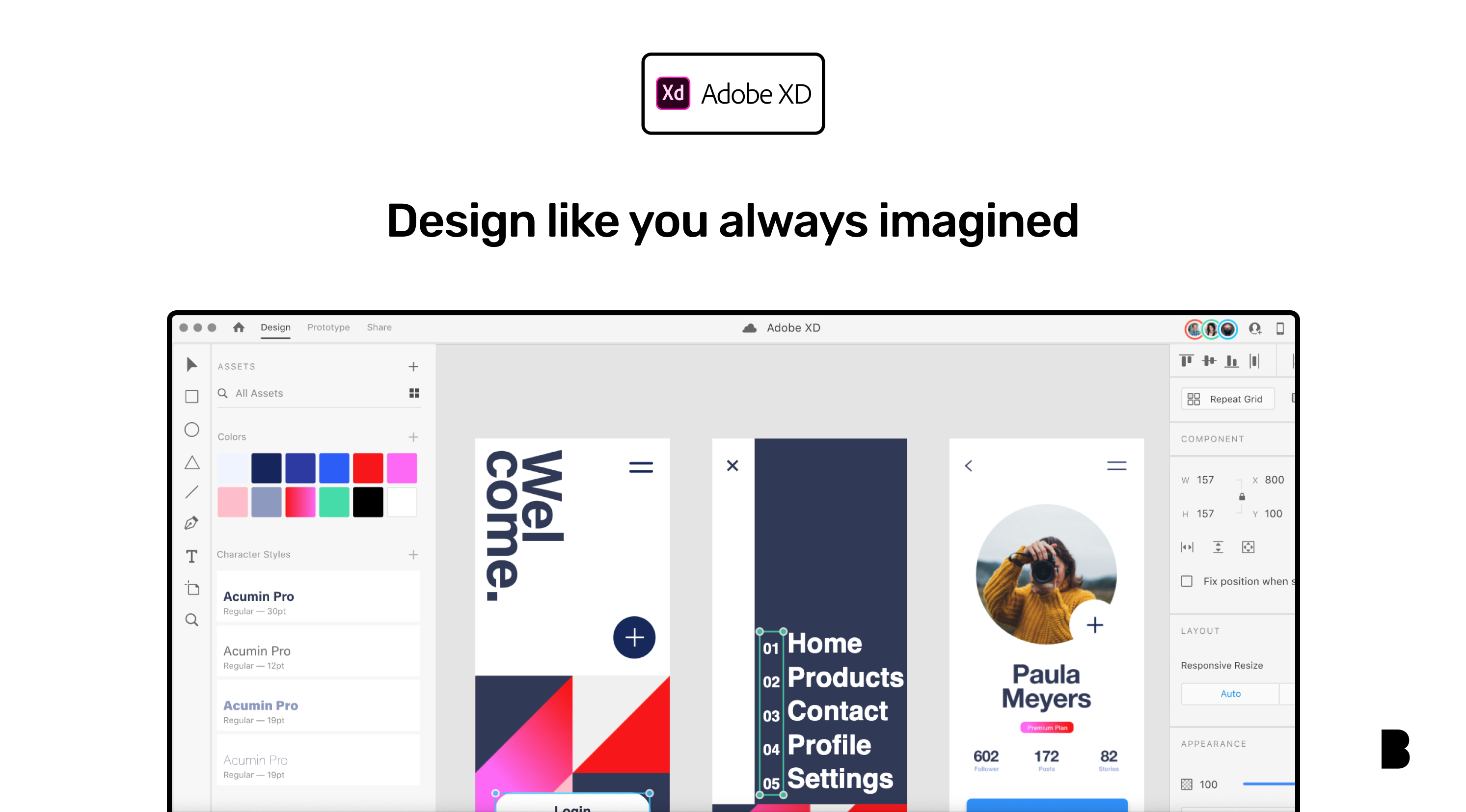 Adobe XD design board with illustration