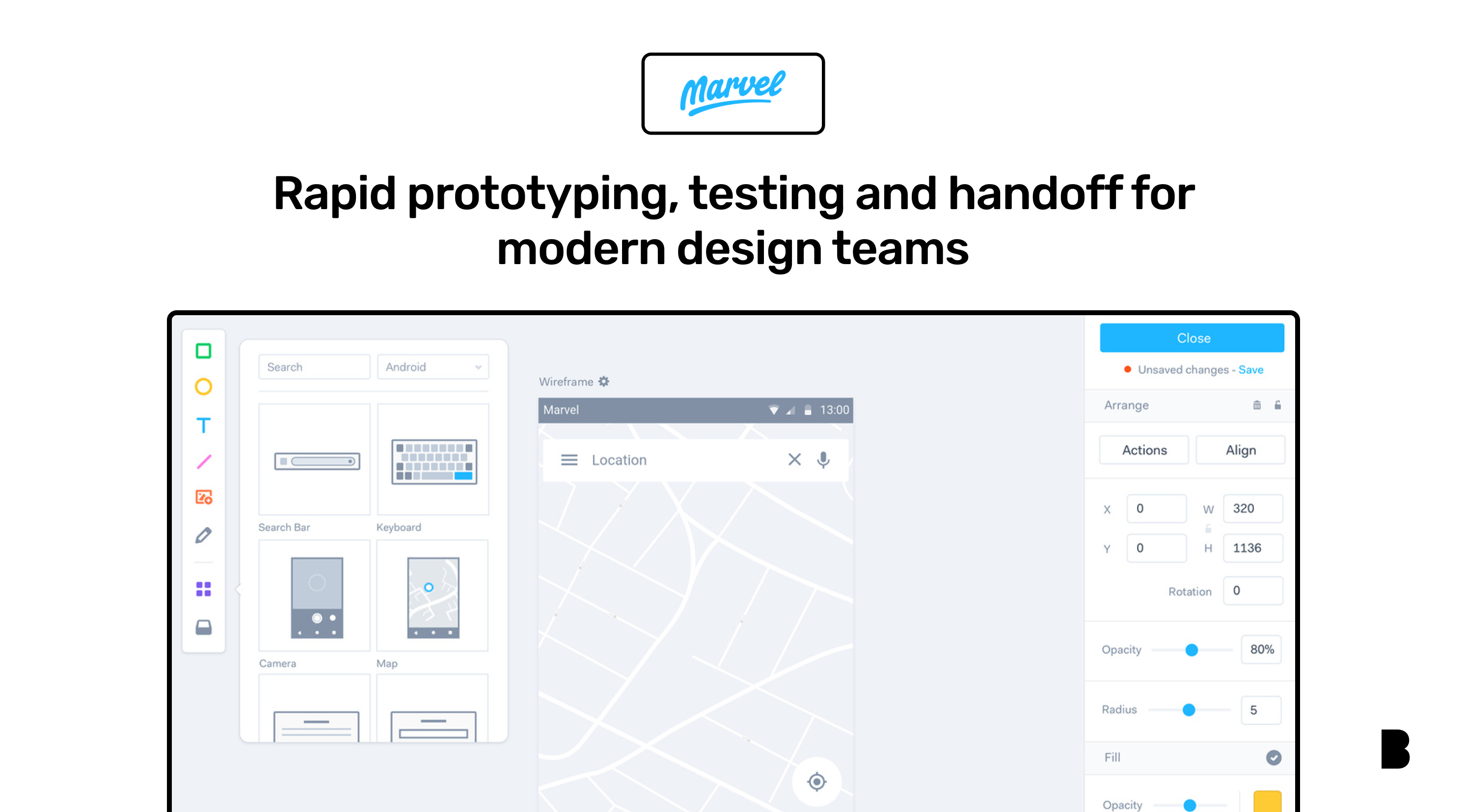 Marvel design board with mobile app wireframe