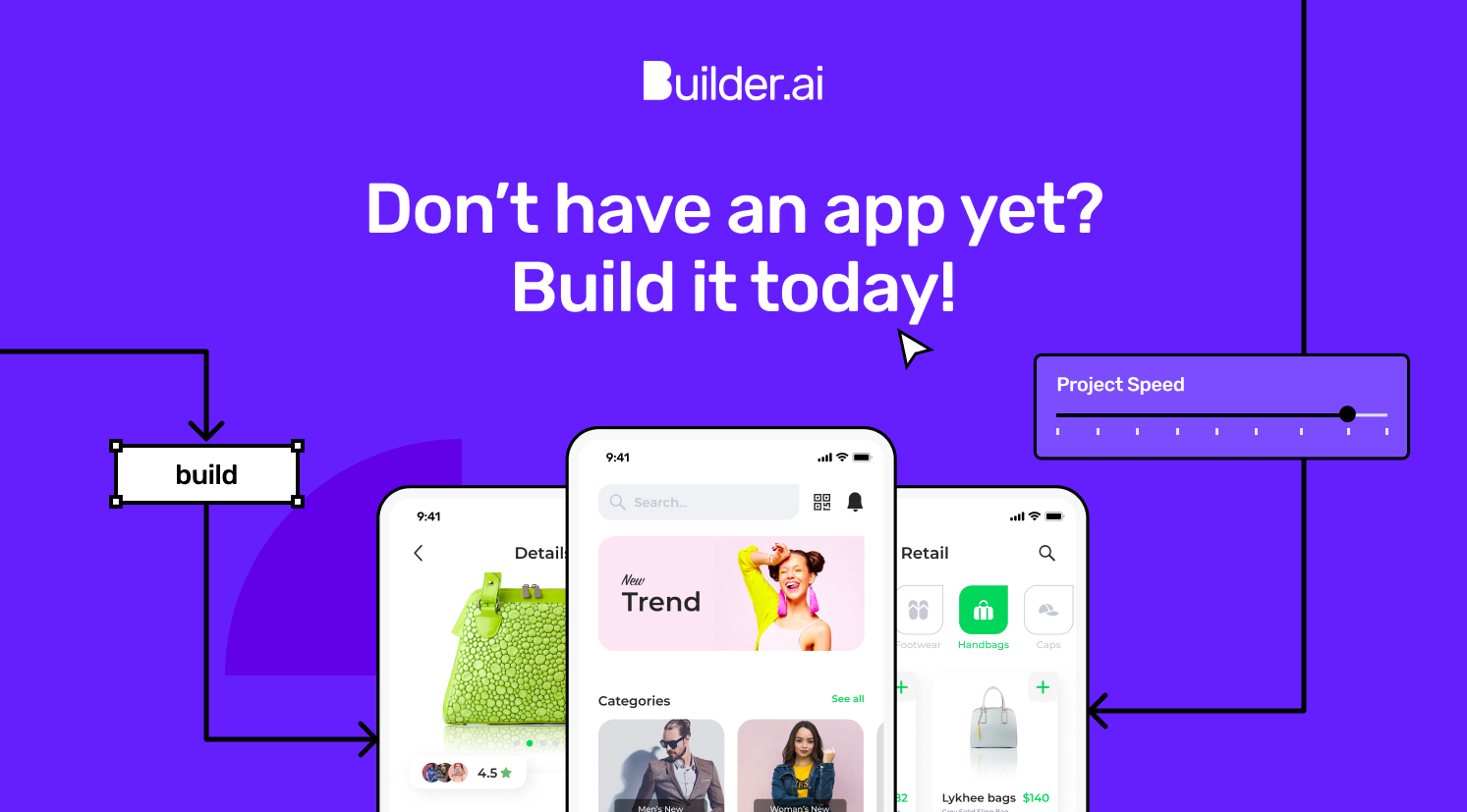 Build an app illustration with app screens by Builder.ai