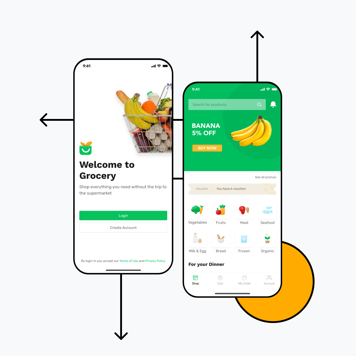 Grocery delivery app illustration for iOS