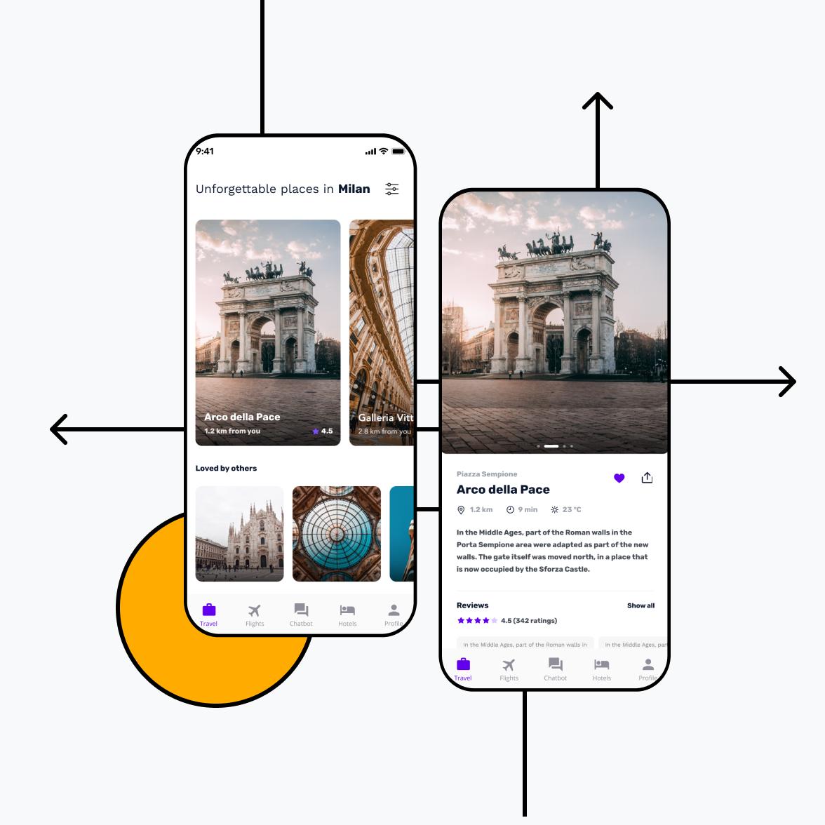 Travel app illustration for iOS