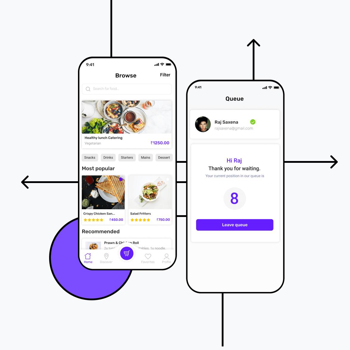 Restaurant android app illustration