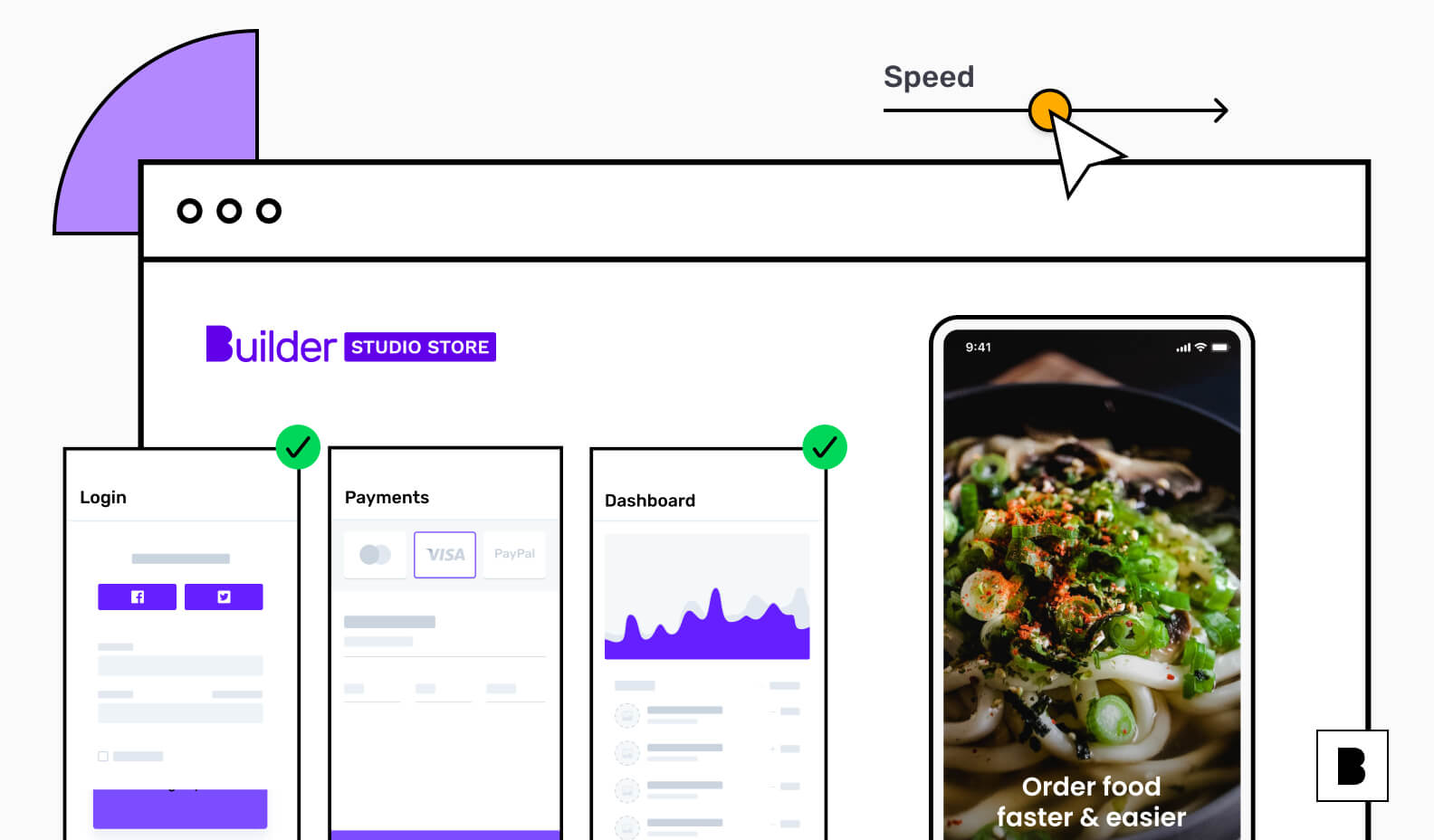 Restaurant app development illustration with Builder Studio Store
