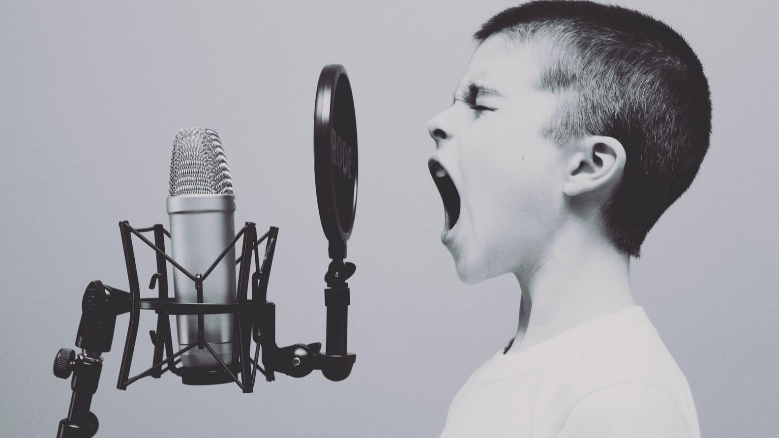 A boy starting a podcast
