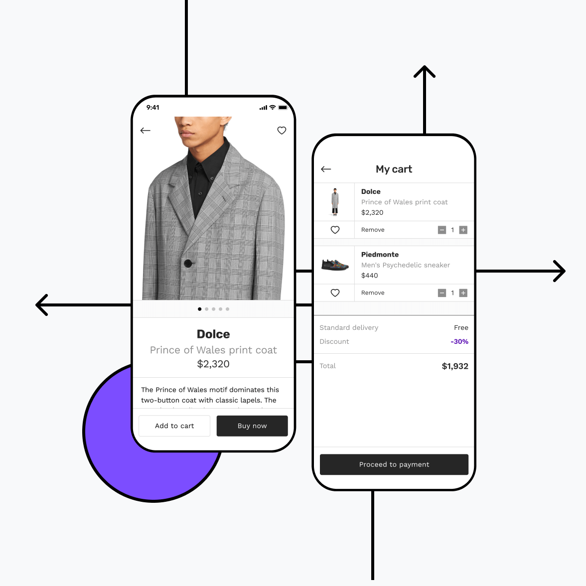Fashion store app with shopping cart