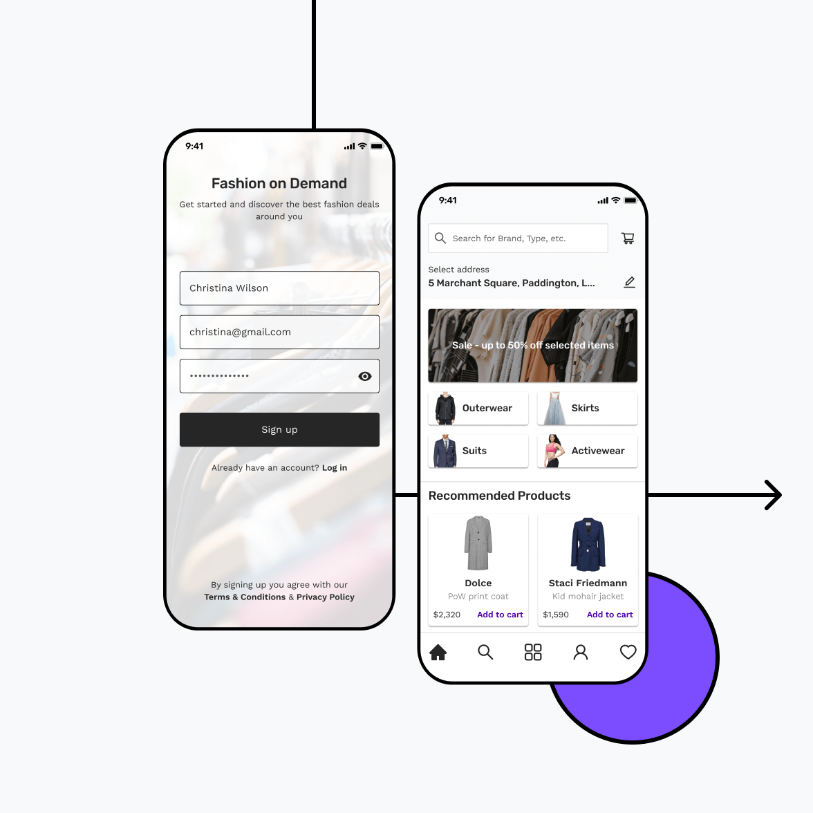 Fashion store app with login screen