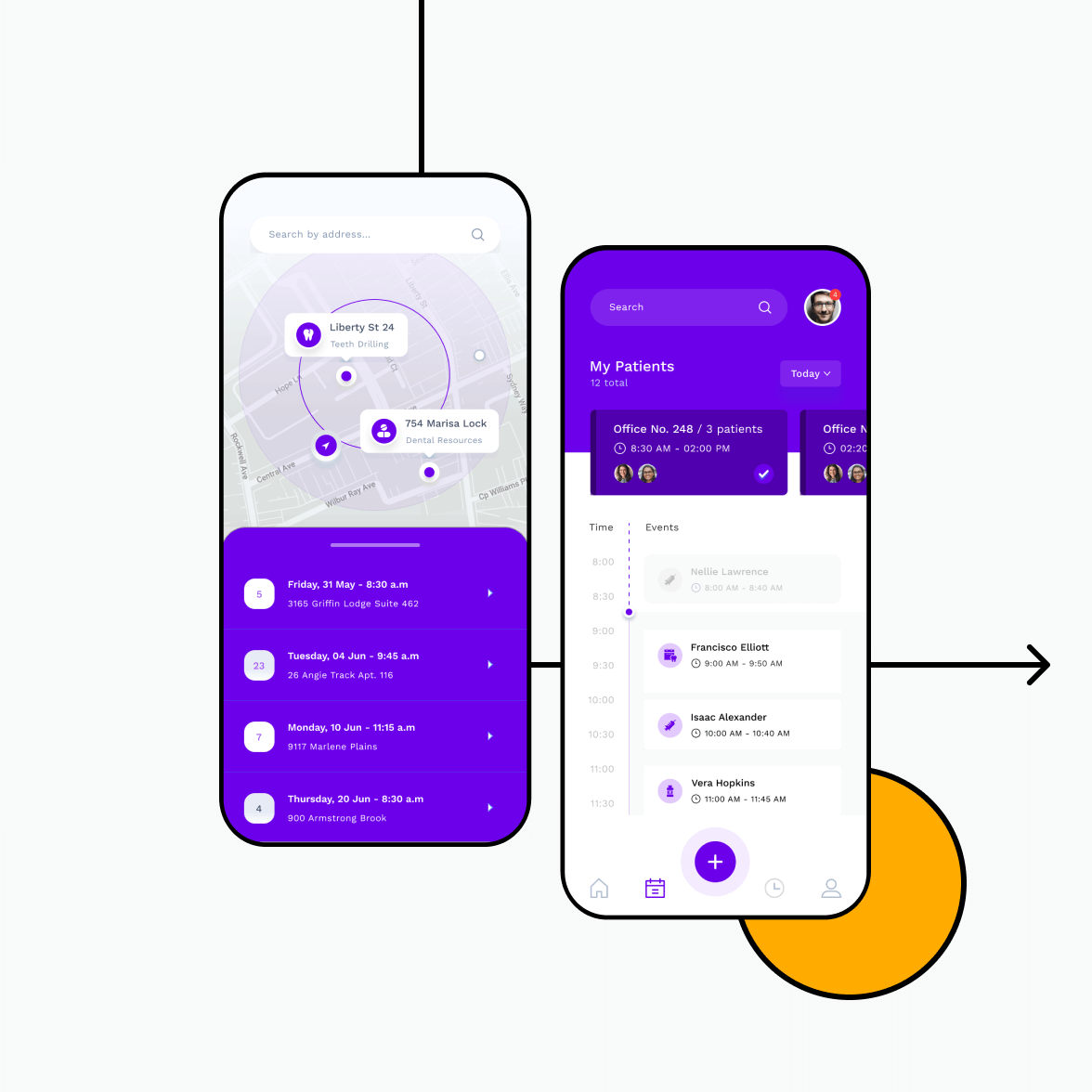 Clinic app screens