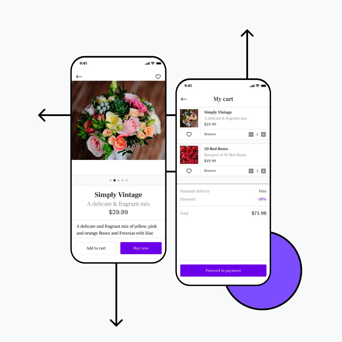 Florist app with shopping cart